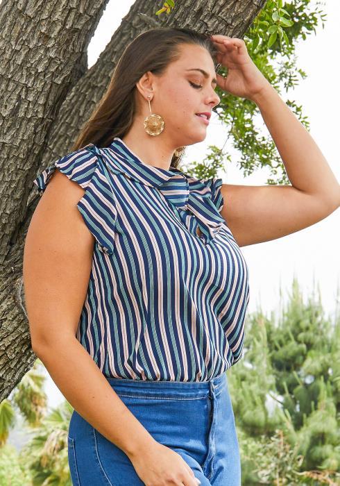 Asoph Plus Size Stripe Ruffle Blouse