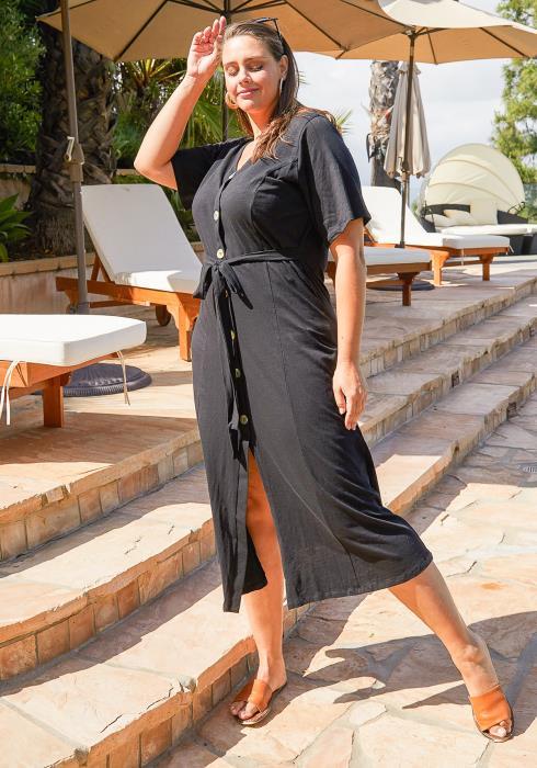 Asoph Plus Size Shirt Midi Dress