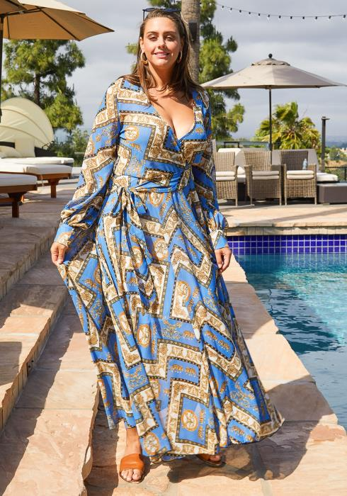 Asoph Plus Size Baroque Print Chiffon Flare Maxi Dress
