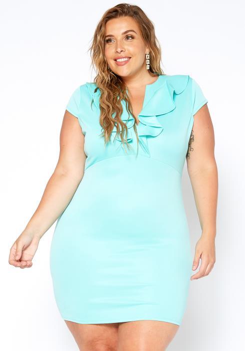 Asoph Plus Size Ruffle Bodycon Dress