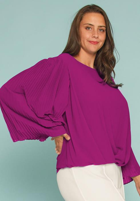 Plus Size Accordian Pleated Blouse