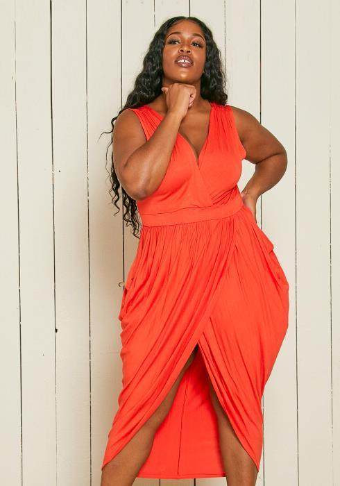 Asoph Plus Size Petal Wrap Midi Dress