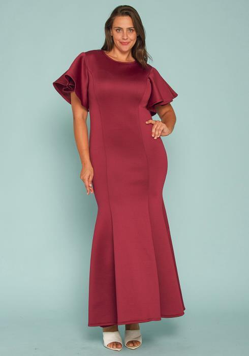 Asoph Plus Size Flutter Sleeve Evening Gown
