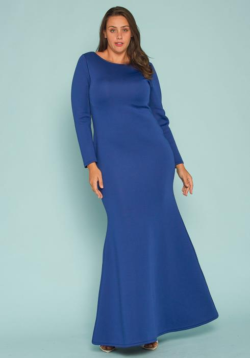 Asoph Plus Size Fitted Scoop Neck Maxi Dress