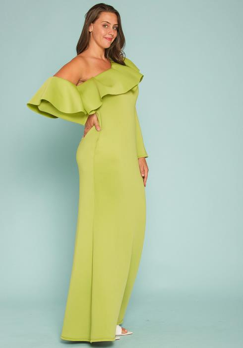 Asoph Plus Size One Shoulder Ruffle Gown