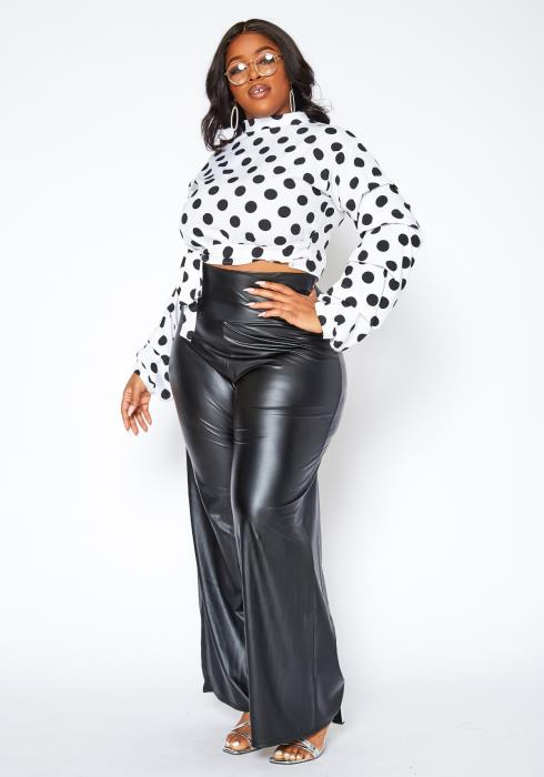 Asoph Plus Size High Waist PU Leather Straight Pants