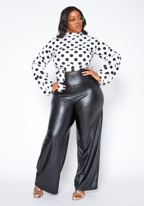 Asoph Plus Size High Waist PU Leather Straight Pants