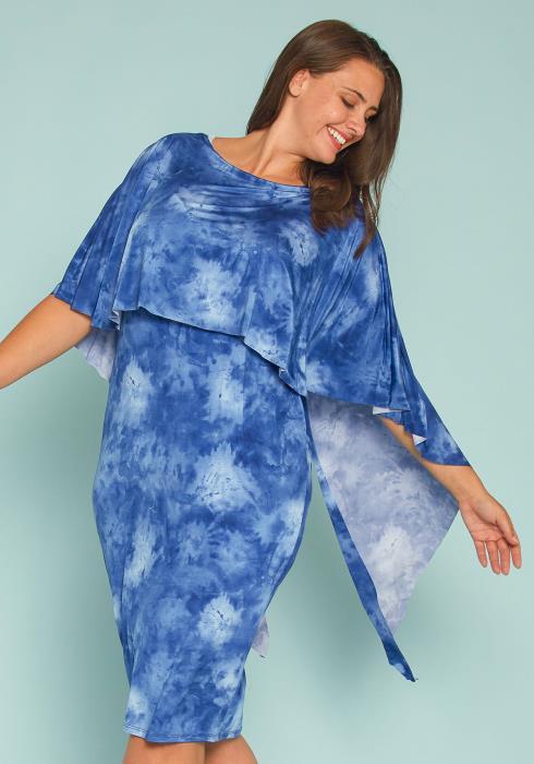 Asoph Plus Size Tie Dye Caped Midi Dress