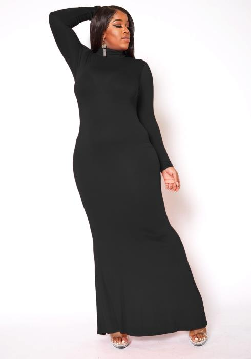 Asoph Plus Size Basic Mock Neck Long Sleeve Maxi Dress