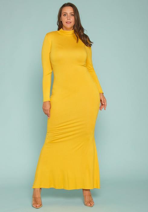 Asoph Plus Size Basic Mock Neck Long Sleeve Maxi Dress