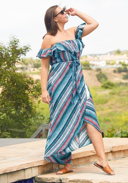 Asoph Plus Size Off Shoulder Stripe Maxi Wrap Dress