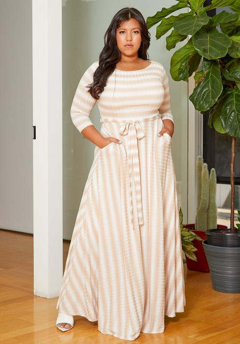 Asoph Plus Size Ribbed Stripe Flare Maxi Dress