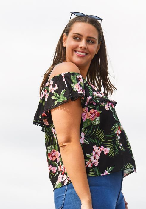 Asoph Plus Size Open Shoulder Floral Top