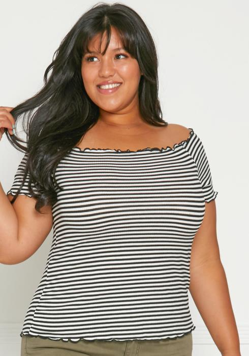 Asoph Plus Size Off Shoulder Stripe Top