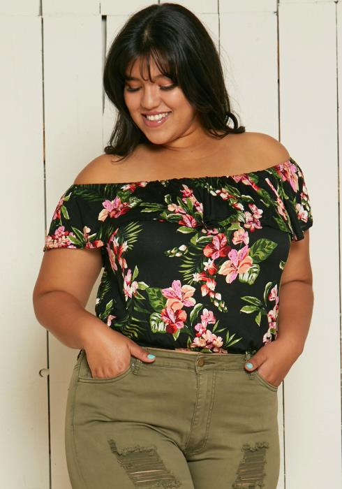 Asoph Plus Size Off Shoulder Floral Crop Top