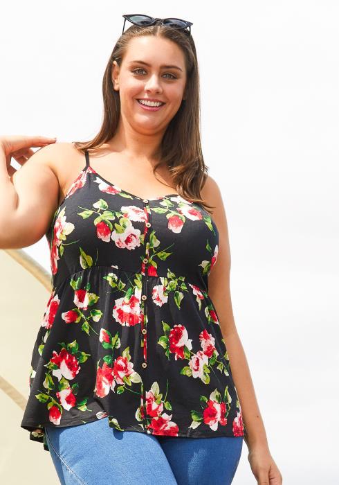 Asoph Plus Size Floral Cami Top