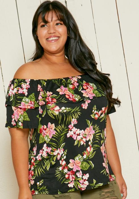 Asoph Plus Size Off Shoulder Floral Blouse