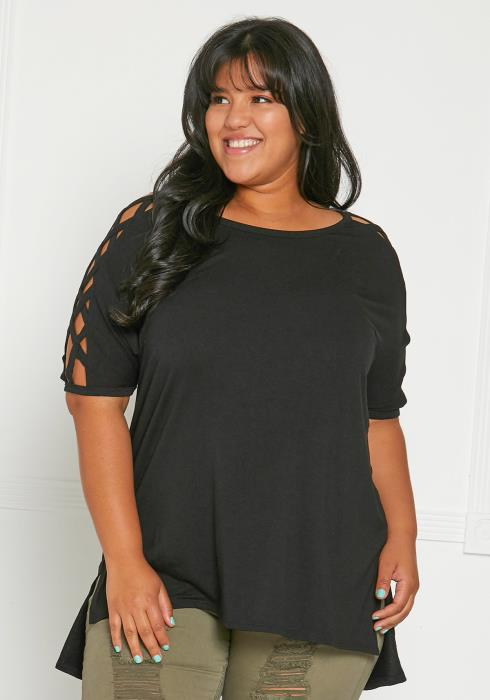 Asoph Plus Size Cage Sleeve Top