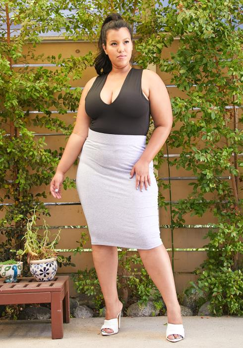 Asoph Plus Size Cotton Pencil Skirt