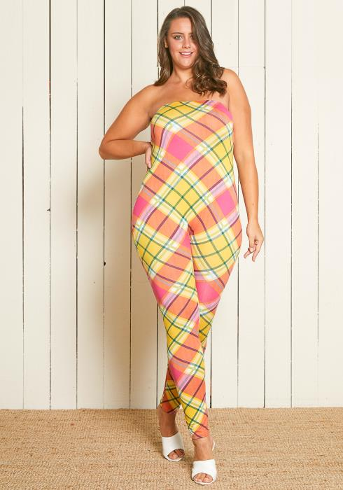 Asoph Plus Size Plaid Tube Jumpsuit
