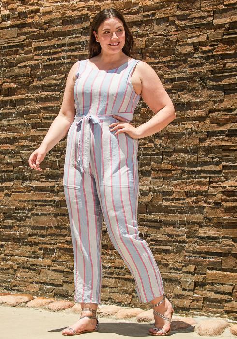 Asoph Plus Size Stripe Sleeveless Casual Jumpsuit