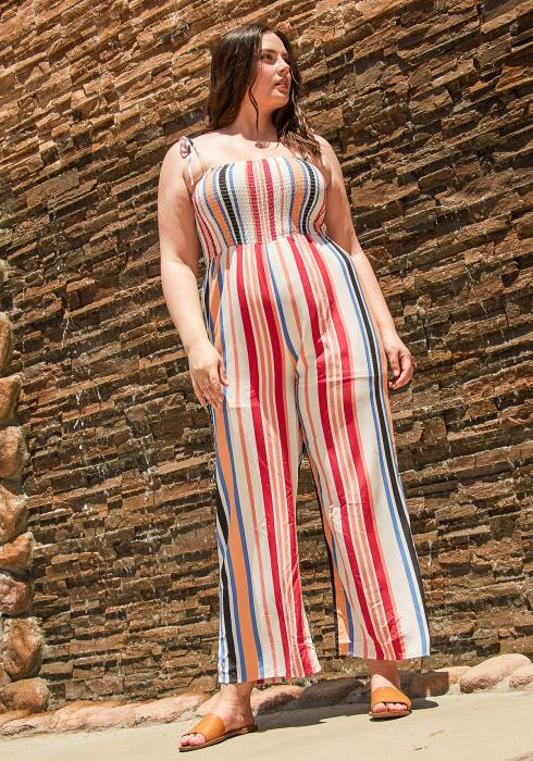 Asoph Plus Size Smocked Stripe Jumpsuit