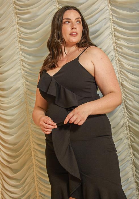 Asoph Plus Size Ruffle Mermaid Cocktail Dress