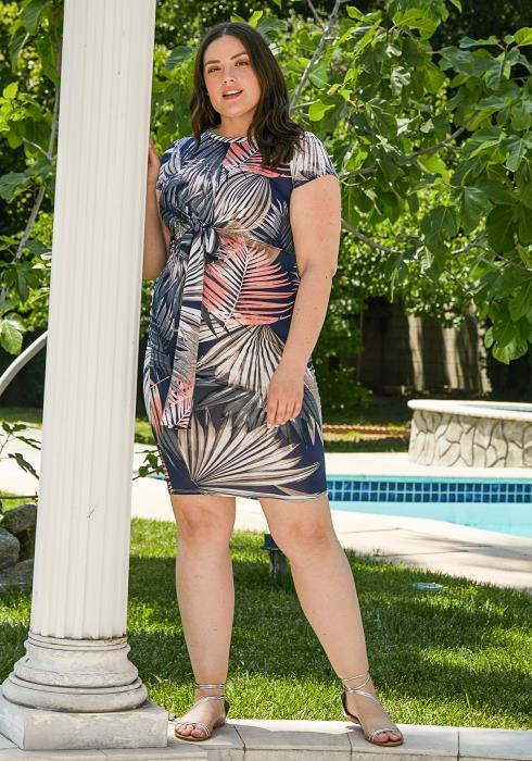 Asoph Plus Size Multi Color Leaf Print Bodycon Dress