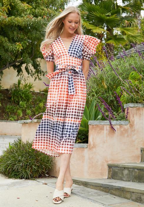 Tansy Multi Color Grid Print Dress