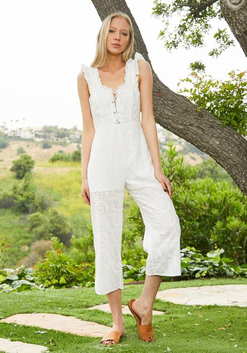 Tansy Cropped Eyelet Jumpsuit