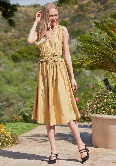 Tansy Lace Trim Midi Dress
