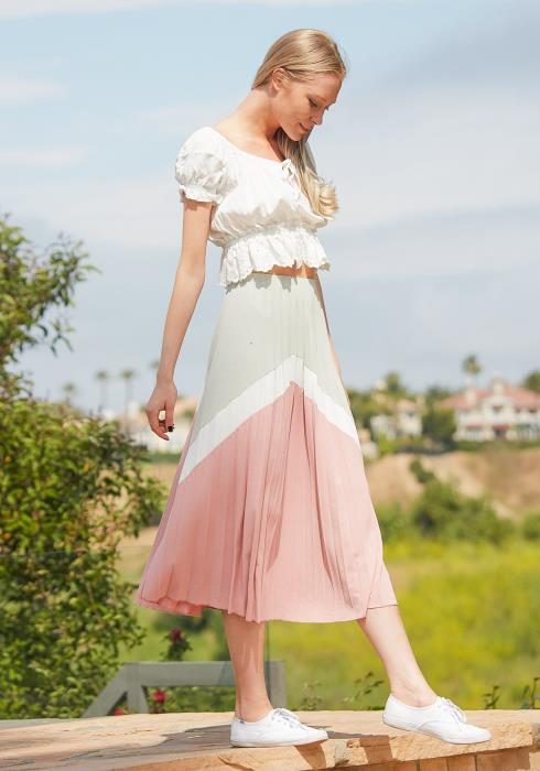 Tansy Pleated Color Block Midi Skirt