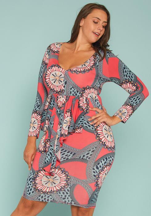 Asoph Plus Size Multi Print Bodycon Dress
