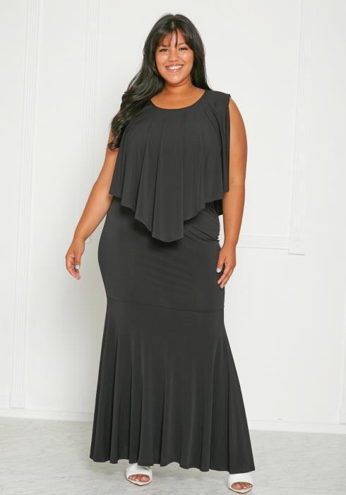 Asoph Plus Size Handkercheif Top & Skirt Set