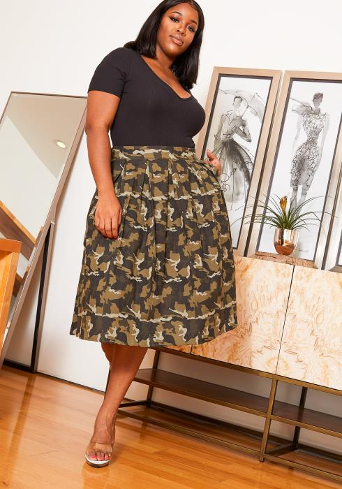 Asoph Plus Size Camo Print Pleated Women Midi Skirt