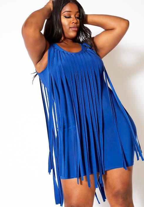 Asoph Plus Size Mini Fringe Dress