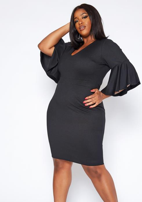 Asoph Plus Size Bell Sleeve Party Dress