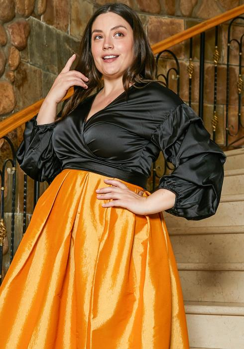 Asoph Plus Size Satin Wrap Blouse