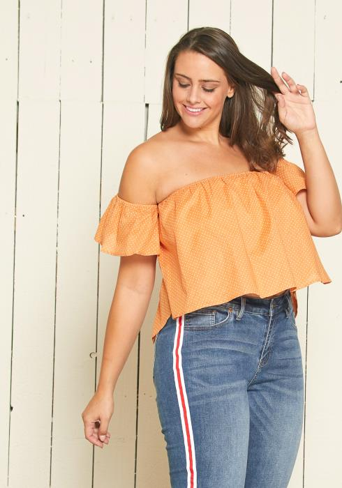 Asoph Plus Size Off Shoulder Polka Dot Crop Top