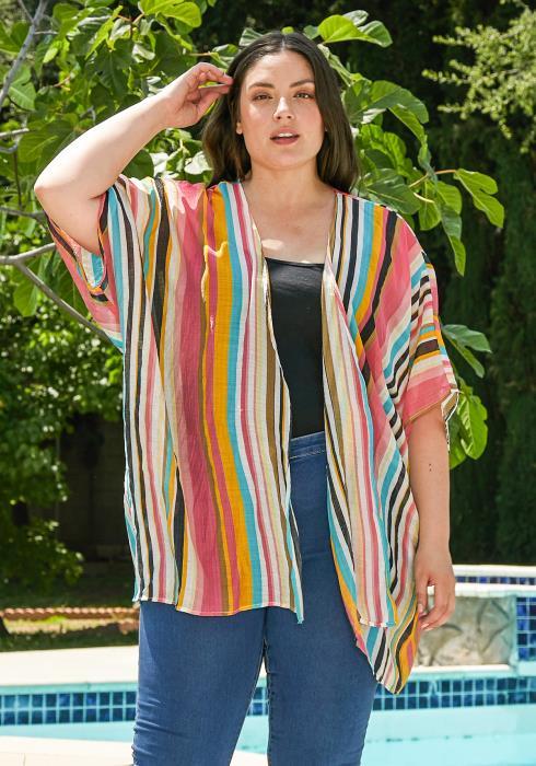 Asoph Plus Size Multi Stripe Cardigan