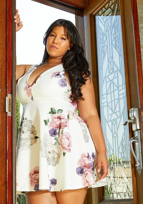 Asoph Plus Size Floral Fit Flare Dress