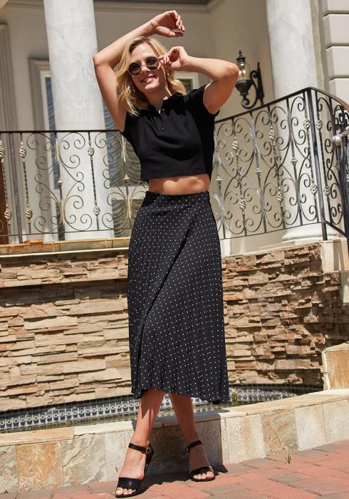 Tansy Pleated Polka Dot Midi Skirt