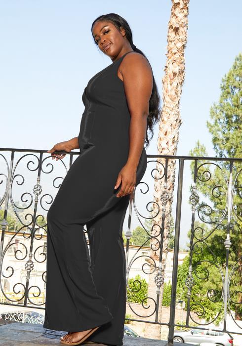 Asoph Plus Size Sleeveless Mesh Jumpsuit
