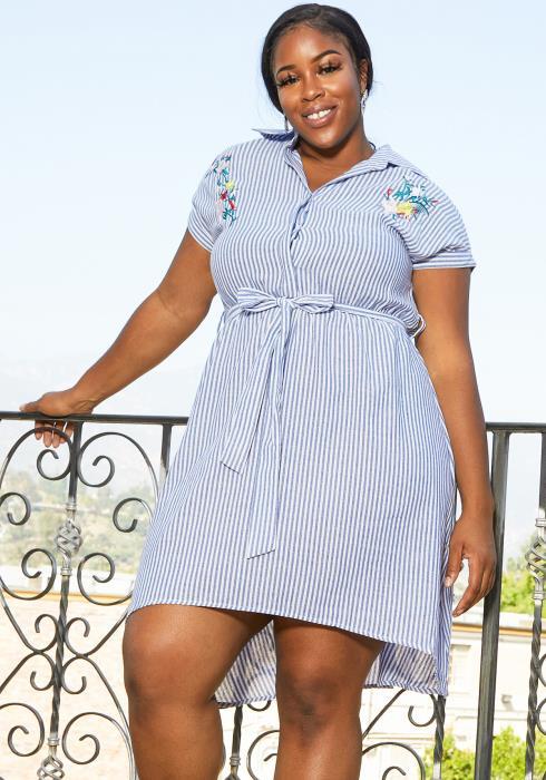 Asoph Plus Size Button Up Stripe Dress