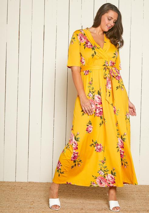 Asoph Plus Size Floral Maxi Empire Dress