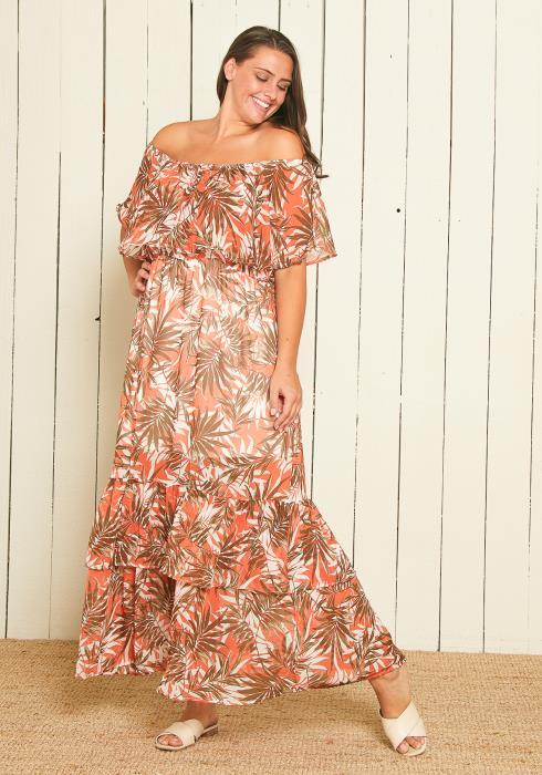 Asoph Plus Size Off Shoulder Leaf Print Maxi Dress