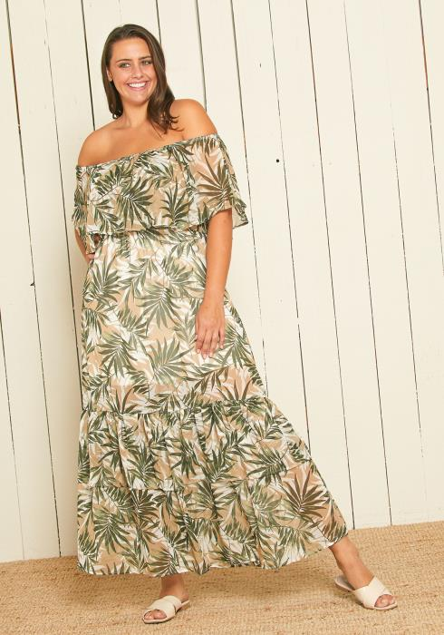 Asoph Plus Size Off Shoulder Leaf Print Maxi Dress
