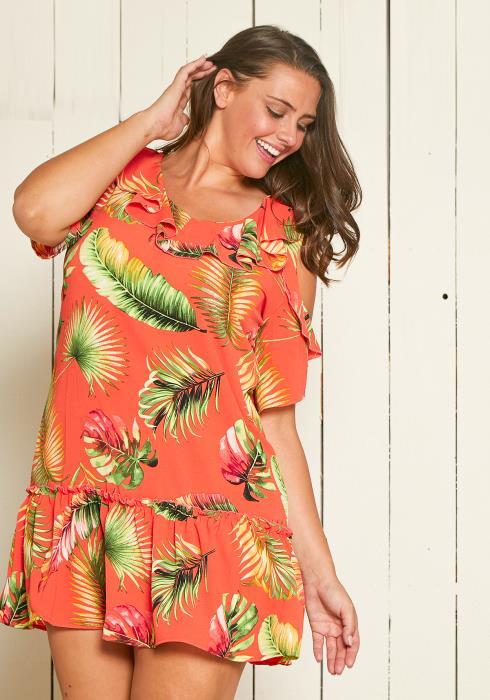 Asoph Plus Size Cold Shoulder Leaf Print Mini Dress