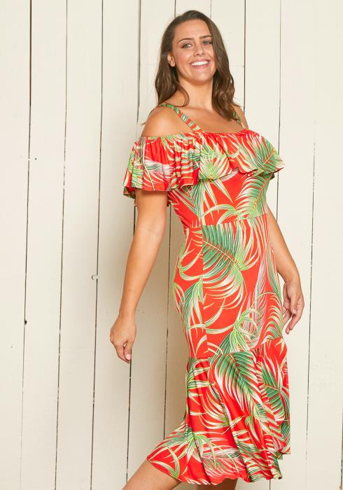 Asoph Plus Size Open Shoulder Palm Leaf Print Midi Dress
