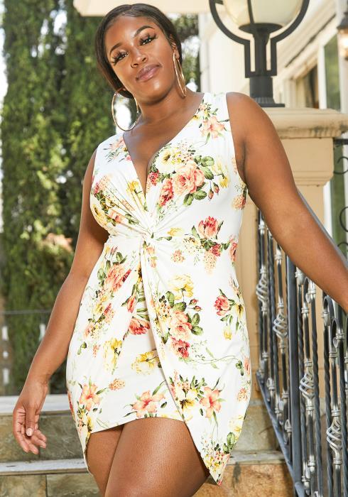 Asoph Plus Size Floral Bodycon Dress